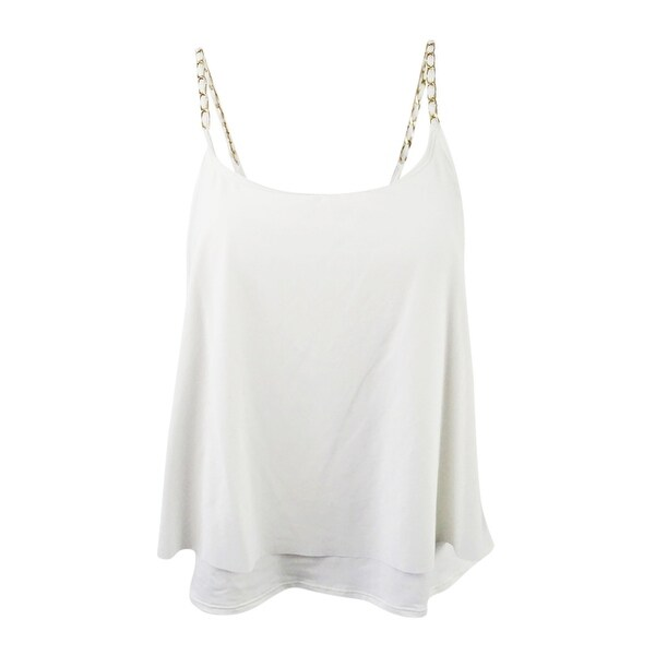 2bb80f9cbf Shop MICHAEL Michael Kors Women's Layered Chain-Trim Tankini Top - White -  S - Free Shipping Today - Overstock - 21532000