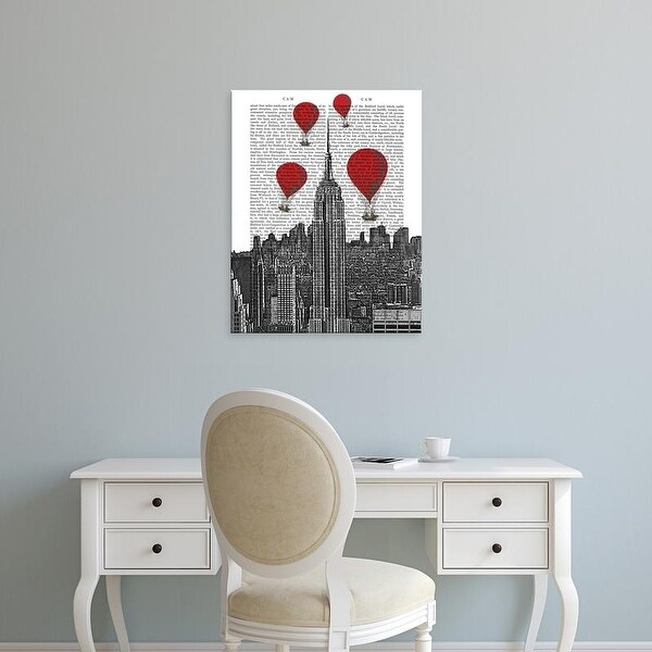 Easy Art Prints Fab Funky's 'Empire State Building and Red Hot Air Balloons' Premium Canvas Art