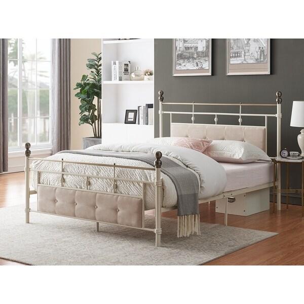 Lvory-white Industrial Flavor Bed Frame With Sponge Filling Headboard