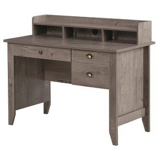 Link to HOMCOM Computer Table Writing Desk with Hutch 3 Drawers, Open Cabinets, Top Shelf, Wide Tabletop, Cable Management, Grey Similar Items in Computer Desks