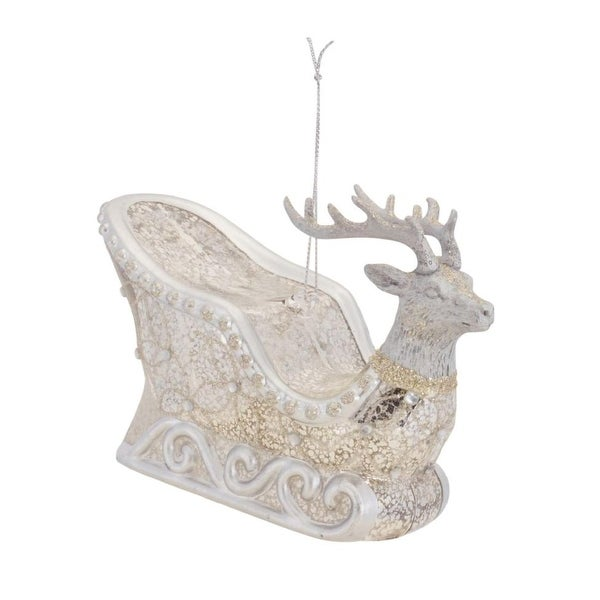 Pack of 6 Silver and Gold Glittered Reindeer Sleigh Christmas Ornaments