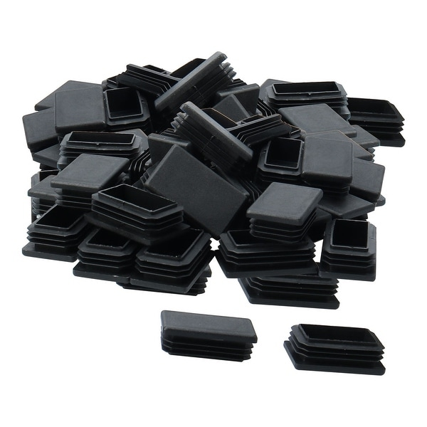 50pcs 50 x 30mm Plastic Rectangle Ribbed Tube Insert End Cover Pad Furniture Chair Table Desk Feet Floor Protector