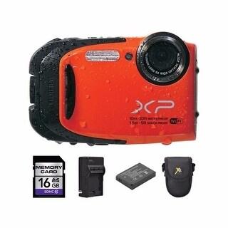 Fujifilm XP70 Orange Digital Camera 16GB Bundle