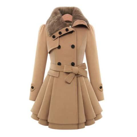 Women's Jacket Double-Breasted Woolen Coat
