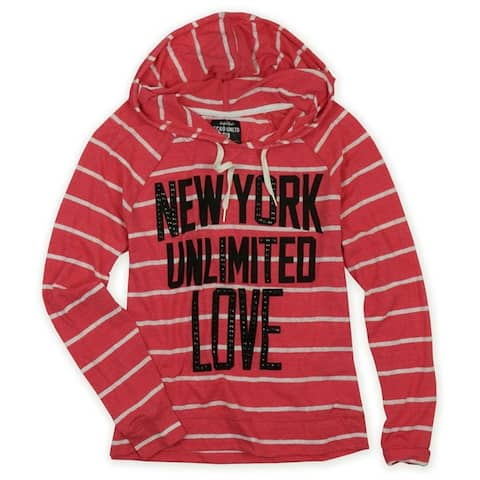Ecko Unltd. Womens Popover Stripe Hooded Embellished T-Shirt