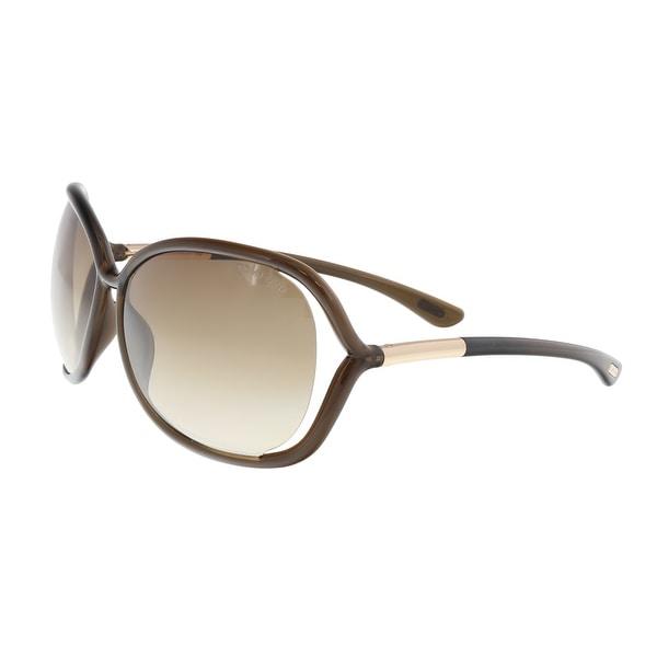 20c41f05ed9 Shop Tom Ford FT0076 692 RAQUEL Brown Oval Sunglasses - 63-14-120 ...