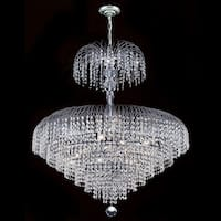 """Worldwide Lighting W83031C30 Empire 14 Light 1 Tier 30"""" Chrome Chandelier with Clear Crystals"""