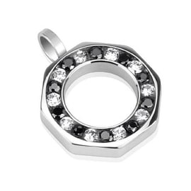 Wheel of Black and Clear CZ Combination Hollow Octagon Stainless Steel Pendant (Sold Ind.) (24 mm Width)