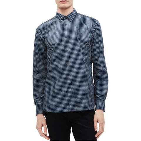 Calvin Klein Mens Gingham Button Up Shirt, Blue, X-Small