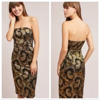 Anthropologie Tracy Reese Strapless Jacquard Dress