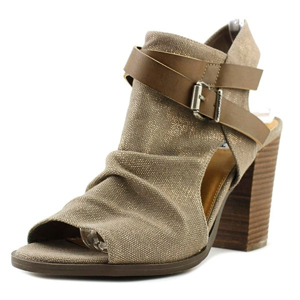 Not Rated Meson Women Open-Toe Canvas Brown Bootie