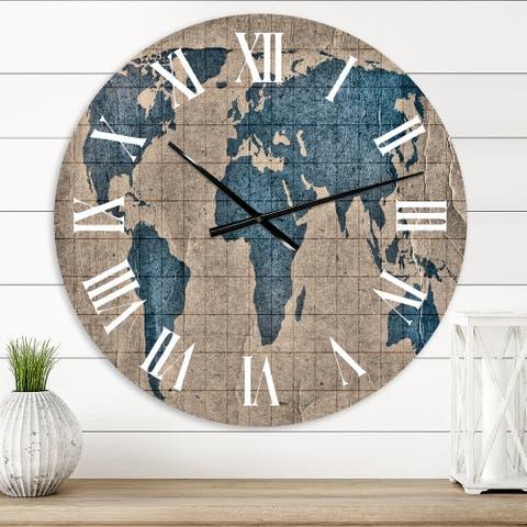 Designart 'Ancient Map of The World I' Rustic wall clock