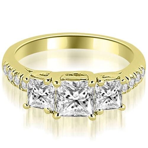 1.30 cttw. 14K Yellow Gold Lucida Three-Stone Princess Cut Engagement Ring
