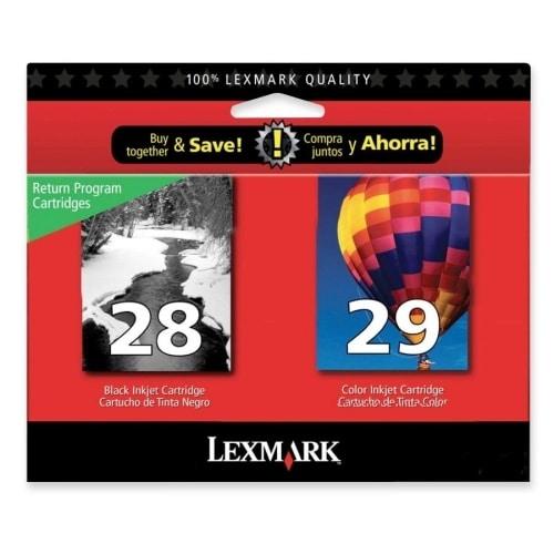 """Lexmark 18C1590 Lexmark No.28/29 Black and Color Ink Cartridge - Assorted, Color - Inkjet - 175 Page - 2 / Pack"""