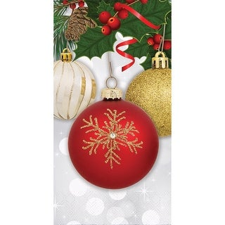 """Club Pack of 288 Christmas Ornament Elegance 2-Ply Disposable Dinner Napkins 7.7"""" - Red"""