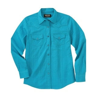 Miller Ranch Western Shirt Womens L/S Pinpoint Twill Teal DSW4205002