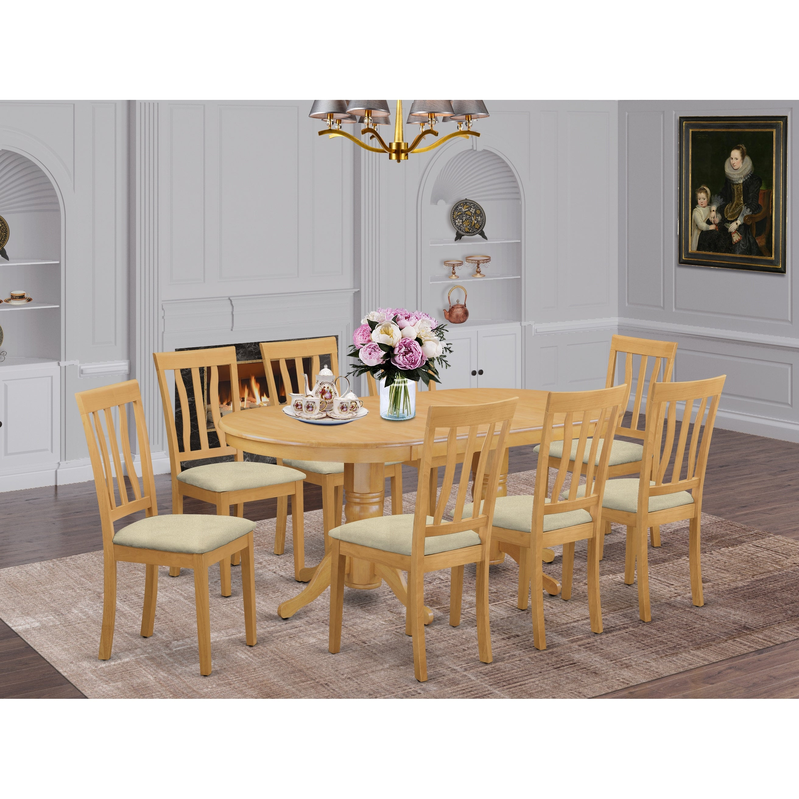 9-piece Dining Set - Dinette Table And 8 Kitchen Chairs In Oak Finish - Overstock - 14366647