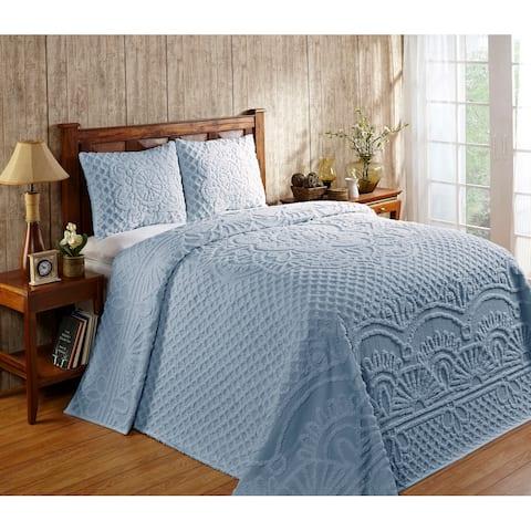Better Trends Trevor 100% Cotton Tufted Chenille Medallion Design Bedspread Set - Blue - Twin