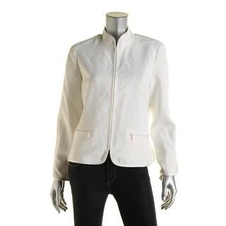 Anne Klein Womens Satin-Trim Long Sleeves Jacket