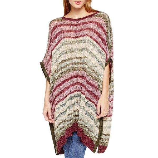 Two by Vince Camuto Womens Poncho Sweater Knit Metallic