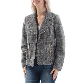 MICHAEL KORS $195 Womens New 1015 Black White Fringed Suit Casual Jacket 4 B+B