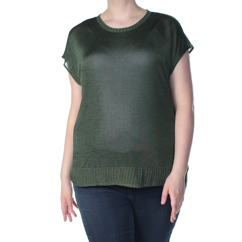 BAR III Womens Green Ribbed Trim Short Sleeve Sweater Plus Size: XL