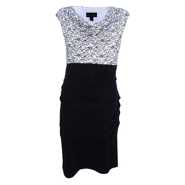 Connected Women's Ruched Lace Sheath Dress - White/Black