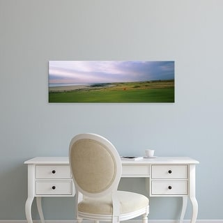 Easy Art Prints Panoramic Image 'Golf flag on a golf course, Royal Porthcawl Golf Club, Porthcawl, Wales' Canvas Art