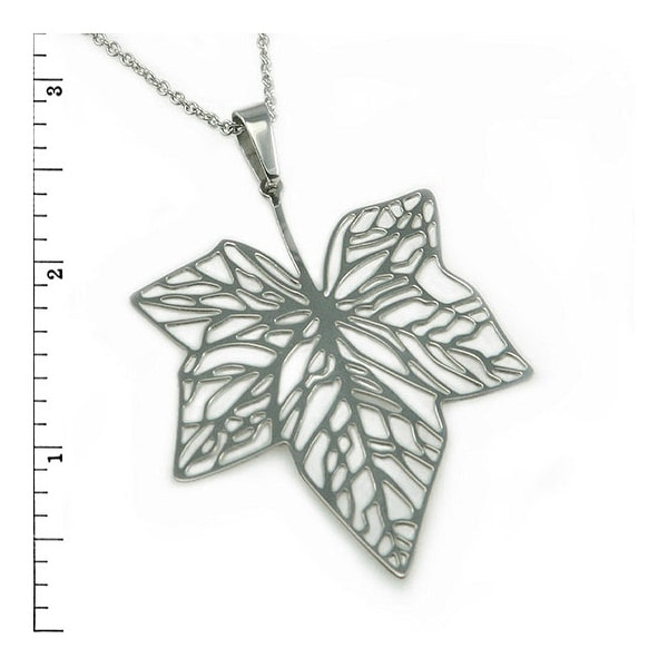 Stainless Steel Ladies Maple Leaf Pendant  - 22 inches
