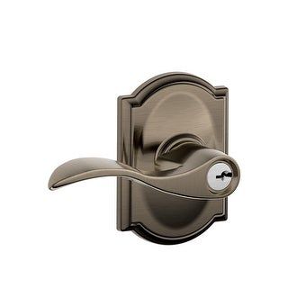 Schlage F51A ACC 620 CAM Accent Lever Keyed Entry X Camelot Rose, Antique Pewter