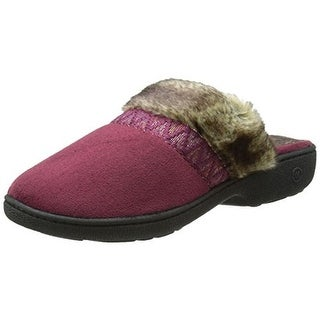 Isotoner Womens Hazel Clog Slippers Microsuede Faux Fur