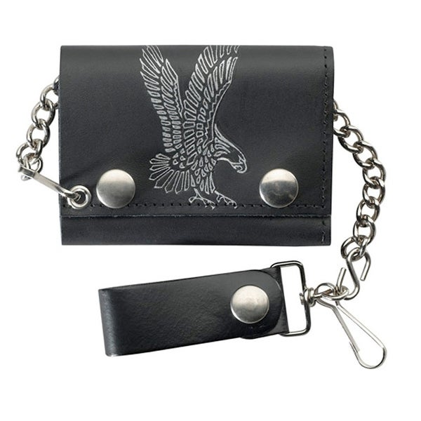 Black Flying Eagle Trifold Wallet with safety chain - One size