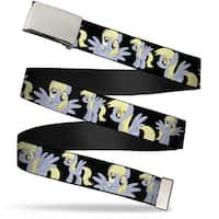 Blank Chrome Buckle Derpy Poses Black Webbing Web Belt