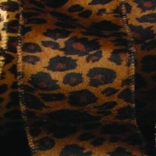 "Dark Leopard Animal Print Wired Craft Ribbon 2"" x 22 Yards"