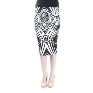 BCX Black, Ivory Tribal Wear To Work Below The Knee Pencil Skirt 2XS B+B