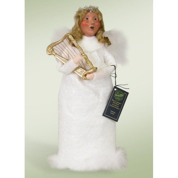 "13"" Decorative Angel Woman in White with Harp Christmas Table Top Figure"