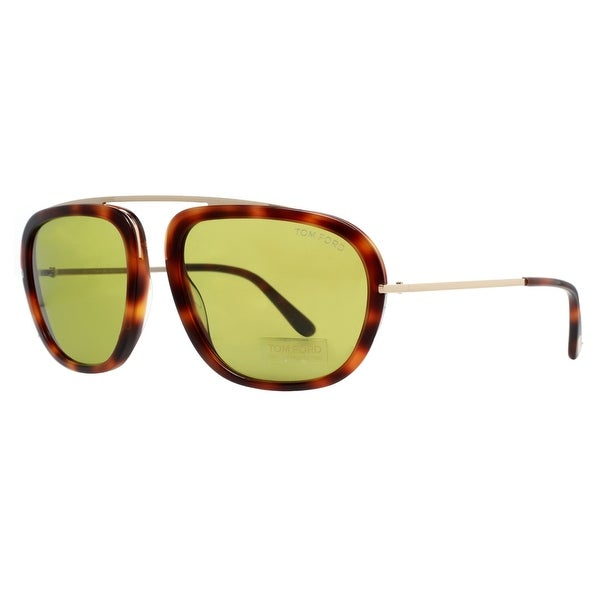 Tom Ford Johnson TF453 52N Dark Havana Brown Gold/Green Men's Sunglasses - dark havana brown - 57mm-18mm-140mm