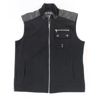 INC NEW Deep Black Mens Size Large L Front-Zip Ribbed Faux Leather Vest