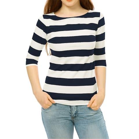 Women Elbow Sleeves Boat Neck Slim Fit Striped Tee