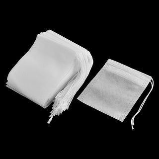 Home Non-woven Fabric Empty Herbal Powder Tea Filter Bag White 9cm x 7cm 50 Pcs