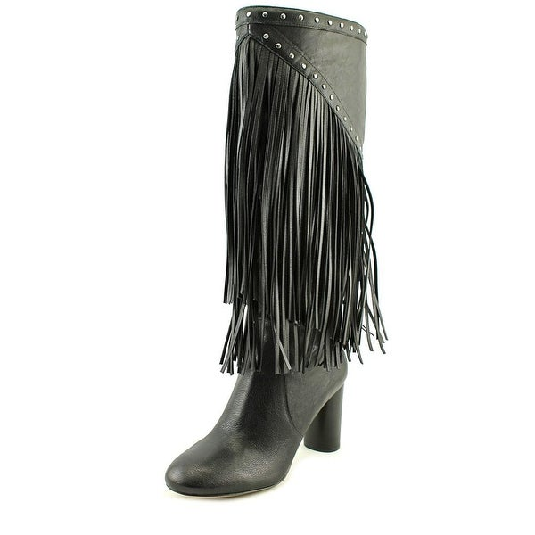 INC International Concepts Tolla Women Round Toe Suede Black Knee High Boot