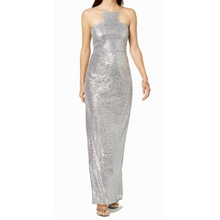 Adrianna Papell Women's Dress Silver Size 16 Sequined Back Slit Gown