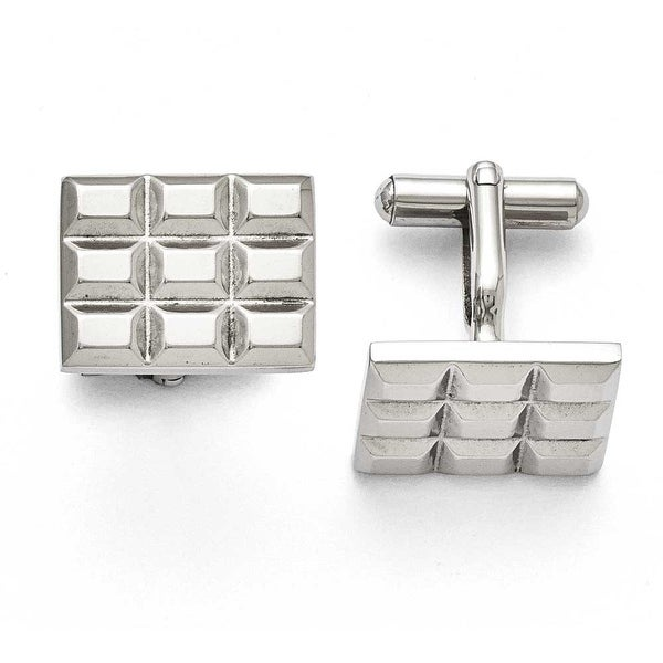 Chisel Stainless Steel Grooved and Polished Cuff Links