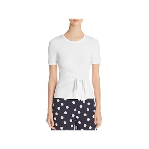 Three Dots Womens T-Shirt Jersey Tie-Front