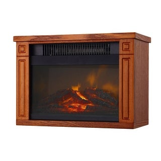 Green Peak MINI Heater with Fireplace Display 13.5W x 10H x 7D inches - oak finish