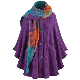 Branigan Weavers Purple Cape & Scarf - Alpaca Wool Boucle Handmade in Ireland - One size