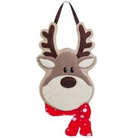 """Evergreen 2DHB1006 Reindeer Burlap Christmas Door Decoration, 12"""", Red/Brown"""