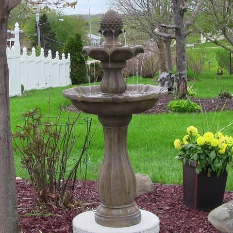 Sunnydaze 2-Tier Pineapple Solar-on-Demand Water Fountain - Earth - 46-Inch