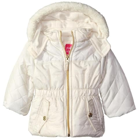 Pink Platinum Girls 2T-4T Quilted Foil Puffer Jacket - Cream