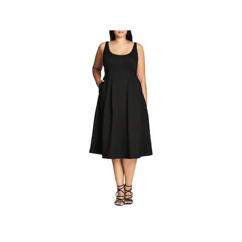 City Chic Womens Plus Casual Dress Pleated Scoop Neck
